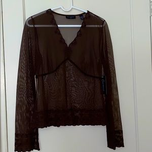NWT Context Petite see through long sleeve size: M